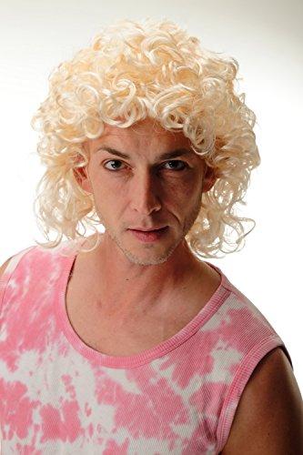 Wig me up 3751-P88 Perücke Damen Herren Karneval Fasching Locken Hellblond Blond schulterlang Proll Adonis Schlagerstar