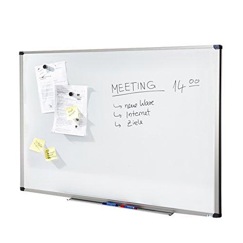 MOB Whiteboard Economy | Testnote 1,5 | schutzlackierte Magnettafel beschreibbar - im stabilen Alurahmen | als Magnetwand, Memoboard - 60x90 cm