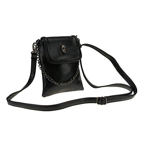 Umhängetasche, Damen Mini Schultertasche Damentasche Handtasche Handytasche aus PU leder mit Totenkopf (Schwarze Handtasche Mini)