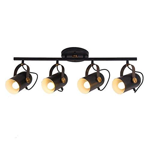 E27 Downlight Vintage Industriell Deckenleuchte Deckenstrahler Deckenspot Loft Spotleuchten LED Strahler Leuchten Korridor Küche Balkon Deckenlampe Drehbar Einstellbar LED-Spots (schwarz), 4-flammig -