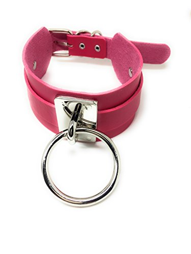 Extra breites Halsband Gothic and Punk Leder Kropfband Choker pink mit Ring