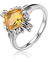 Jewelrypalace Víspera de Todos los Santos de la Mujer 2,2ct Amarillo Genuino Citrino Blanco Anillo de Cristal de Cristal 925 Plata de Ley
