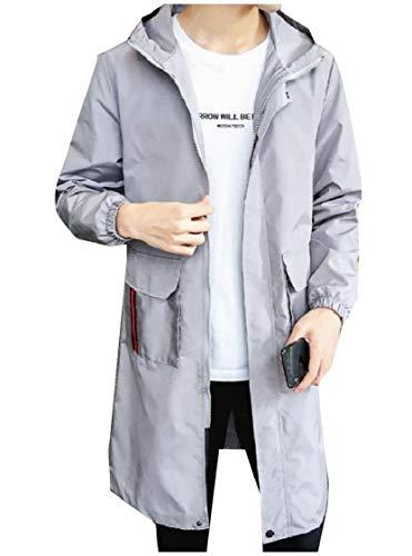 CuteRose Men Hooded Pocket Big and Tall Full-Zip Soft Jacket Overcoat Light Grey L Mens Big And Tall Gabardine