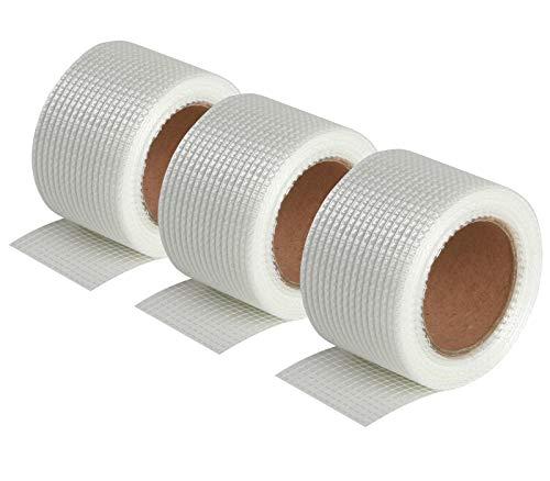 Semin A02652 Bande Grillagée Adhésive pour Réaliser les Joints des Plaques de Plâtre en association avec un Enduit, Intérieur, 20 m (Lot de 3)
