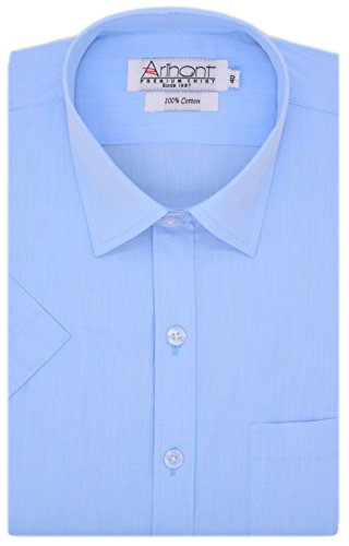 Arihant Men's Plain Half Sleeve Cotton Regular Fit Formal Shirt (AR73420544_Sky Blue_Size:44)