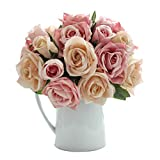 CQURE Artificial Flowers, Fake Flowers Silk Artificial Roses 9 Heads Bridal Wedding Bouquet for Home Garden Party Wedding Decoration (Pink Champagne)