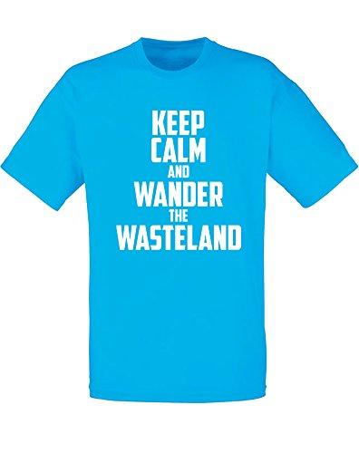 Brand88 - Brand88 - Keep Calm and Wander the Wasteland, Mann Gedruckt T-Shirt Azurblau/Weiß