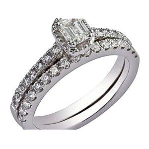 Bis Damen-Ring-Set 14 Karat (750) Weißgold 1,47 Karat Moissanit Größe O P K L M N Q zertifiziert