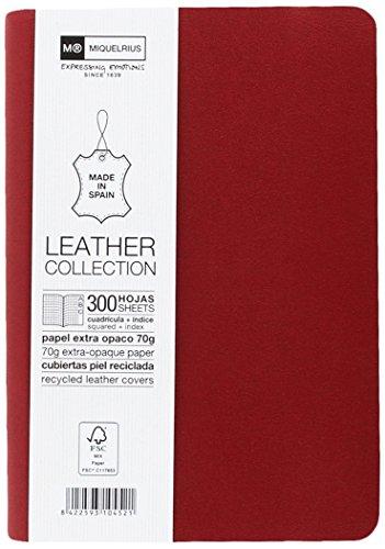 basicos-mr-10452-flexible-piel-cuaderno-8-300-hojas-cuadricula-5-mm-con-indice-con-goma-color-rojo