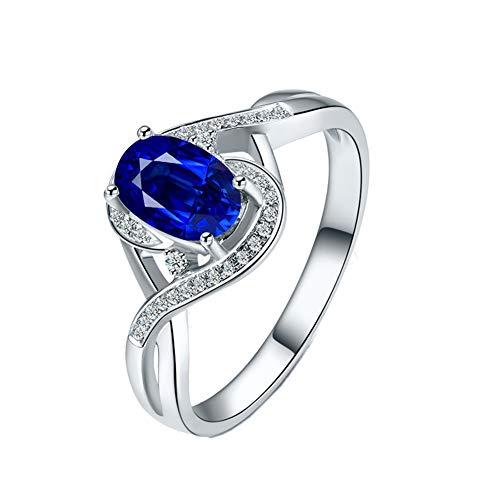 YCGEMS The Sapphire Ring Collection: Damenschmuck aus 18 Karat Weißgold, Echter Saphir und Ewigkeitsring mit Diamant,J1/2