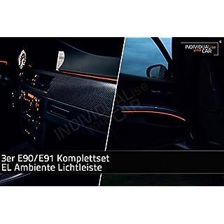 EL Ambiente Lichtleisten für 3er E90 E91 - Komplettset Türen + Armaturenbrett - Amber