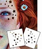 Viso Occhi Adesivi tatuaggio tatuaggi temporanei Confezione da F01Oro & Argento Per Viso Glitter Make Up Effetto per Party Festival Shows auftritte e palco
