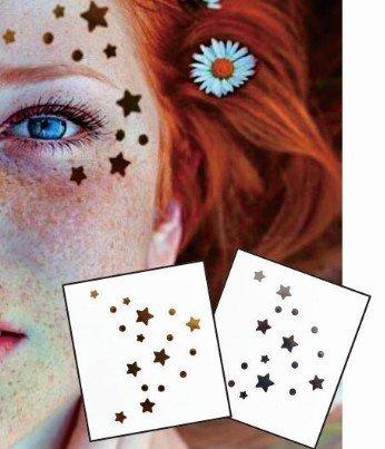 Visage Yeux Tattoo Autocollants Tatouages Temporaires Lot de 2 F01 or et argent pour le visage Glitter Maquillage Effet pour Party Festival Spectacles et Scène de auftritte