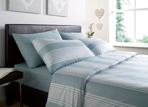 Luxurious Thermal Micro Fleece Double Bed Quilt Cover Set Stripe Eu De Nil / Teal Penzance