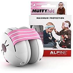 Alpine Baby Muffy Bouchon d'oreille pour enfant - pour enafant et tout-petits jusqu'à 36 mois - Protection auditive enfant- Améliore le sommeil pendant les déplacements - Confortable - Rose