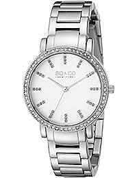 SO & CO New York 5060.1000000000004 - Reloj para mujeres, correa de acero inoxidable color plateado