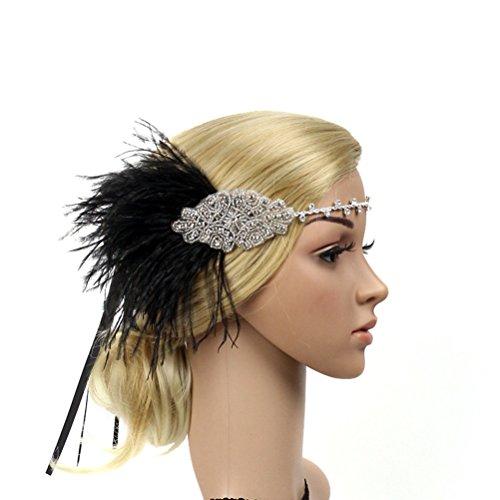 �enfedern Flapper Stirnband Haarband 1920s Elastisch mit Strass für Party Hochzeit Burlesque Kostüm Accessoire (Schwarz) (Bleiben Kostüm)