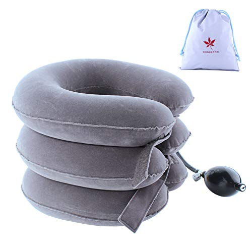 LeRan Cervical Neck Traction Device Soft Inflatable Neck Pillows Adjustable Traction Masseur Professional Spine Improvement Collars Ideal for Head or Shoulder Pain (Gray) - Flugzeug-head-unterstützung