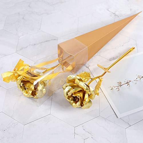 oramsa Artificial 24K Foil Plated Flower Gold Rose Valentine Gift Lover's Rose Artificial Flowers
