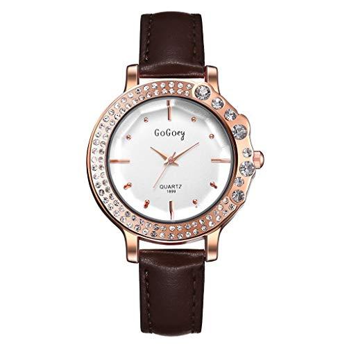 TWISFER Damen analog Quarz Uhr Strasssteine Zifferblatt mit Leder Armband Klassische Mode Romantisch Armbanduhr