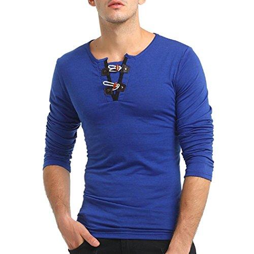 Paolian T-Shirt à Manches Longues à Manches Longues Corne de Couleur Unie pour Homme, à la Mode Autocollant pour Homme Confortable à l'automne-Hiver