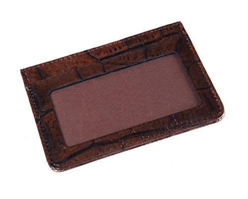 SageBrown Metallic Brown Croc Flat Credit Card Wallet With ID