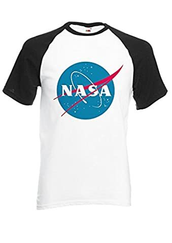 Nasa National Space Administration Logo Black/White Men Women Unisex Shirt Sleeve Baseball T Shirt-L