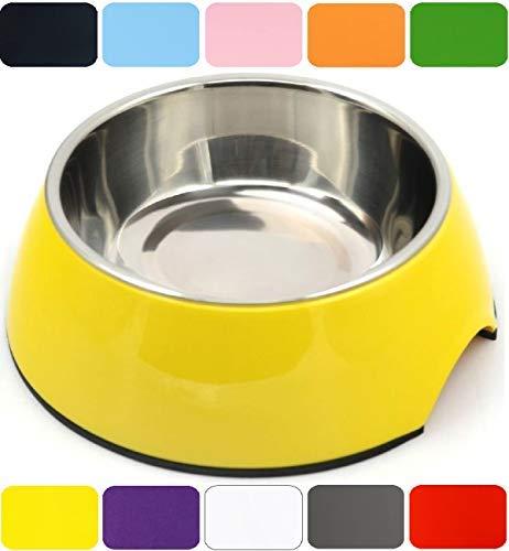 DDOXX Fressnapf   Futternapf   Melamin   Edelstahl   für große, mittelgroße, mittlere & kleine Hunde, Katzen, Hamster, Welpen   Napf Hund Katze   Hundenapf   Katzennapf   Gelb, 160 ml