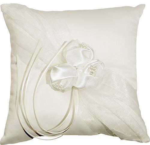 Weddix Ringkissen Rosenzauber Creme für die Hochzeit, Kissen mit Rosen Blüten für die Trauringe, quadratisch, 20 x 20,5 cm
