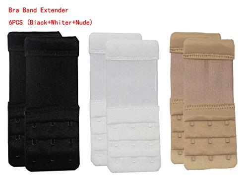 Bllatta 6Pcs/3PcsBH-Verlängerer,BH-Trager-Extender Erweiterung flexible (weiss, schwarz, nackt) (Mutterschafts-bh Aus Mikrofaser)