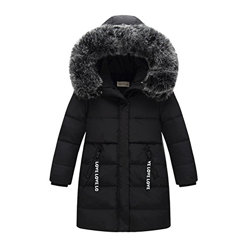 KVbaby Kinder Fellkapuze Daunenjacke kälteschutz lange Jacke Winterjacke Jungen Mädchen Daunenmantel Wintermantel mit Kapuze