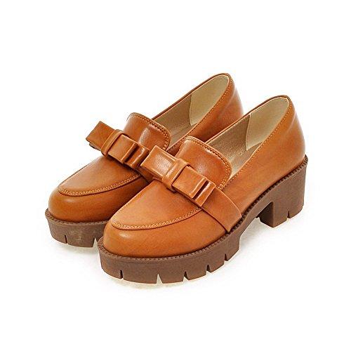 VogueZone009 Femme Couleur Unie Pu Cuir à Talon Correct Rond Tire Chaussures Légeres Brun