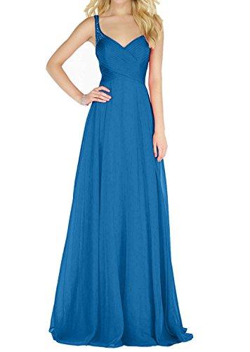 Charmant Damen Royal Blau Traeger Abendkleider Ballkleider Partykleider mit Steine Traeger Chiffon Promkleider Blau