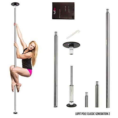 LUPIT POLE Classic - Professionelle Poledance Stange für Zuhause aus hochwertigem Edelstahl und Montage ohne Bohren | Neueste Generation 2020 | 45 mm Durchmesser | Spinning Pole