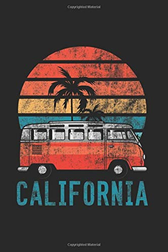 California Surfen Surfer Life Hippie Van Notizbuch: DIN A5 beautiful notebook | 120 pages point grid, notebook for all occasions | gift idea friends