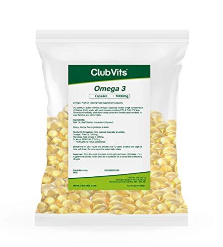 Club Vits Omega-3 Fischöl Konzentrat 1000mg - 365 Kapseln - TÜTE MIT VERSCHLUSS
