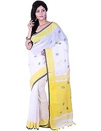 Tjsarees Women's Linen Sarees(TJ5001014_White_Medium)