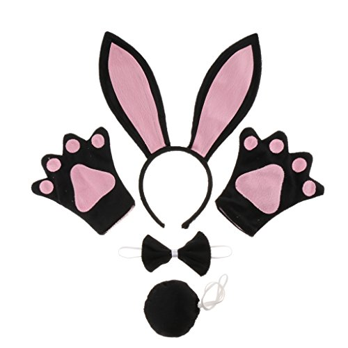 Sharplace Kaninchen Tier Handschuhe Stirnband Schleife Schwanz Kinder Kit Set Kostüm (Hase Kind Kostüme Kit)