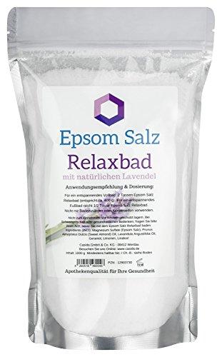Epsom Salz Relaxbad mit natürlichen Lavendelöl/Lavendel - Magnesium zum Baden - 1000 g - Ideal für Voll- und Fußbäder - Original Epsom Salz aus der Apotheke -