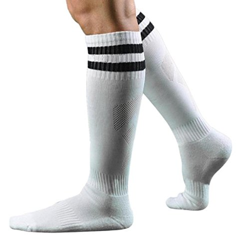 Calzino Familizo Uomo Calzini Men Sport Football Soccer Long Striped Socks High Socks Sock Baseball Hockey (Bianco)