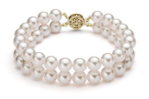 14K Or jaune Double brins Blanc japonais Bracelet Perle de culture Akoya, 19,1cm