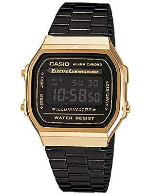 Casio Reloj Digital para Unisex de Cuarzo con Correa en Acero Inoxidable A168WEGB-1BEF