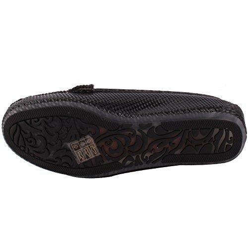Unze Damen Damen 'Tobah' Komfortable flache Schuhe Slipper Moccasins Pumps Schuhe Größe 3-8 - MT81732C Schwarz
