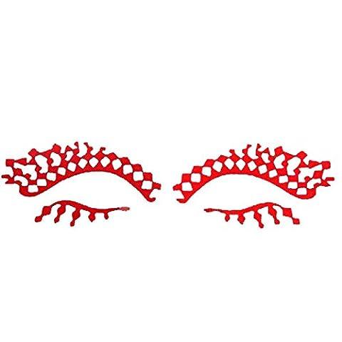 erthome Paper Cutting Flower Eye Stickers Eyeliner Luxury False Eyelashes (red)