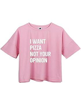 HappyGo Mujer Camisetas Verano Redondo Mezcla de Algodón Linda Casual Manga Corta Moda Crop T-Shirt Blusas Tops