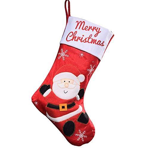 Xuxuou Nikolausstiefel Nikolaussocke Weihnachts Socke Weihnachtsstrümpfe Nikolaus-Strumpf Socke Weihnachten zum Befüllen und Aufhängen 45 * 26cm