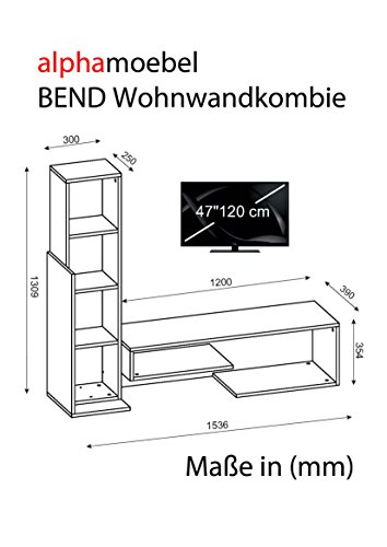 Wohnwand Anbauwand TV Medienwand Lowboard BEND in verschiedenen farben (Weiss-Walnussbraun) 2015 - 2