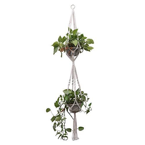 Vosarea Blumentopf String Tasche Hand Stricken Baumwolle Seil hängen grüne Pflanze Net Tasche für Home Garden Shop (doppelte Blumentopf Stil) -