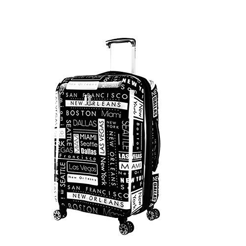 YUNY Kindergepäck, ABS, leicht und langlebig, Hartschalenkoffer kann Koffer mit großer Kapazität (schwarz-weiße Buchstaben) 71 cm -