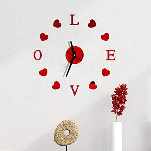 OGGID 3D DIY Reloj de Pared Adhesivo con Love y Corazon, Reloj Moderno Espejos sin Marco Movimiento...